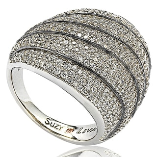 Suzy Levian Sterling Silver Cubic Zirconia Multi-level Curved Dome Ring