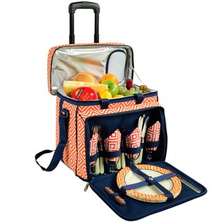 Picnic at Ascot Diamond Collection Wheeled Picnic Cooler for Four
