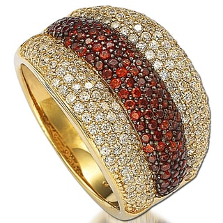 Suzy Levian Gold over Sterling Silver Cubic Zirconia Strawberry Chocolate Ring