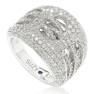 Suzy Levian Sterling Silver Cubic Zirconia Gladiator Weaving Ring (More options available)