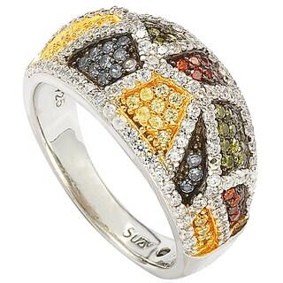 Suzy Levian Sterling Silver Cubic Zirconia Multicolor Exotic Ring