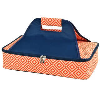 Picnic at Ascot Diamond Collection Insulated Casserole Carrier - Orange/Navy