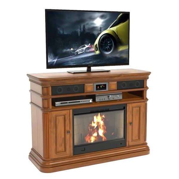 shop roland 48 inch deluxe xperience audio console with electric fireplace free shipping today. Black Bedroom Furniture Sets. Home Design Ideas