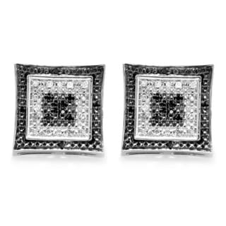 Sterling Silver 1/8ct TDW White and Black Diamond Micropave Kite Stud Earrings (I-J, I2-I3)