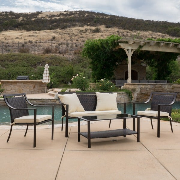 Christopher Knight Home San Mateo 4 Piece Aluminum Outdoor Sofa Set With Cushions