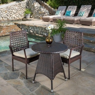 Robbins Outdoor 3-piece Wicker Bistro Set with Cushions by Christopher Knight Home