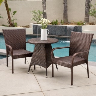 Nelson Outdoor 3-piece Wicker Bistro Set by Christopher Knight Home
