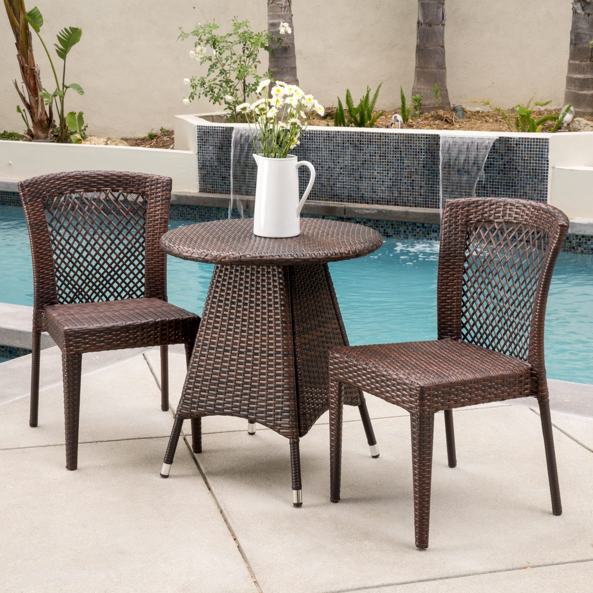 Neal Outdoor 3-piece Wicker Bistro Set by Christopher Kni...