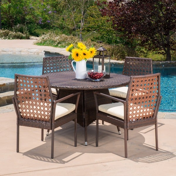 Parry Outdoor 5-piece Wicker Dining Set with Cushions by Christopher Knight Home