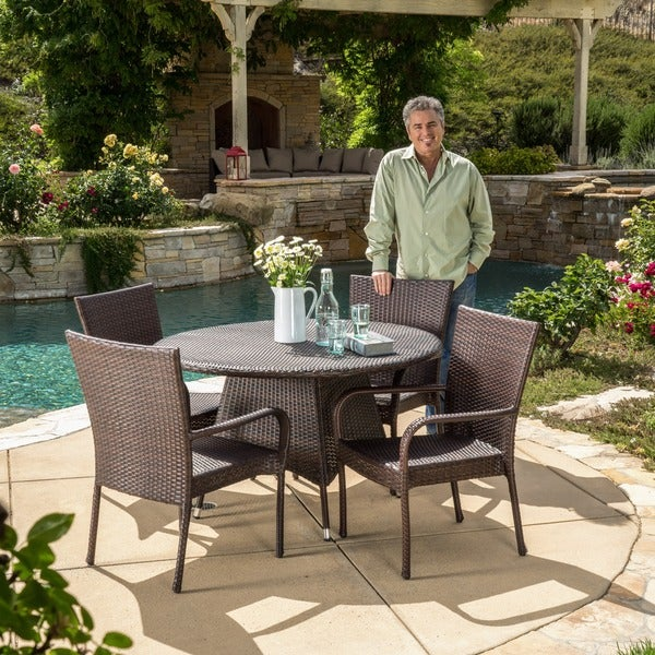 Grant Outdoor 5 Piece Wicker Dining Set By Christopher Knight Home