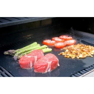 Barbeque Grilling Sheets - Set of Two Flexible Non-Stick - Black