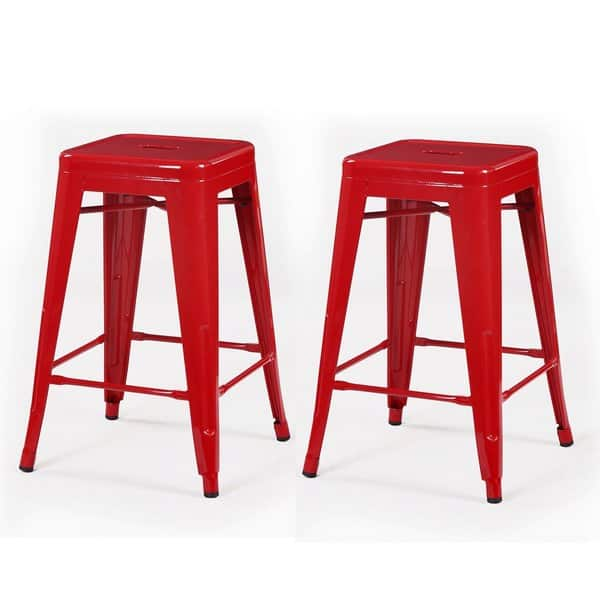 Groovy Shop 24 Inch Glossy Metal Chair Counter Stool Set Of 2 Pabps2019 Chair Design Images Pabps2019Com