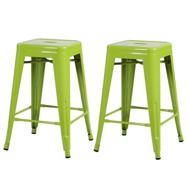 Enjoyable Shop 24 Inch Glossy Metal Chair Counter Stool Set Of 2 Pabps2019 Chair Design Images Pabps2019Com