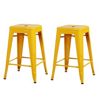 Adeco 24-inch Glossy Metal Tolix Style Chair Counter Stool (Set of 2)