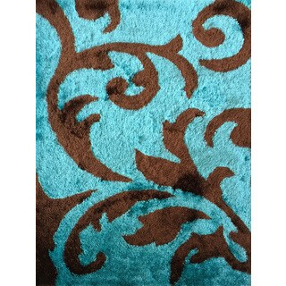 Rug Addiction Hand-tufted Polyester Turquoise and Brown Shag Area Rug (5' x 7')