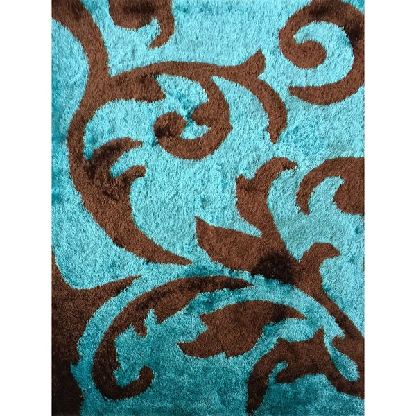 Rug Addiction Hand Tufted Polyester Turquoise And Brown Shag Area Rug (5u0027x7