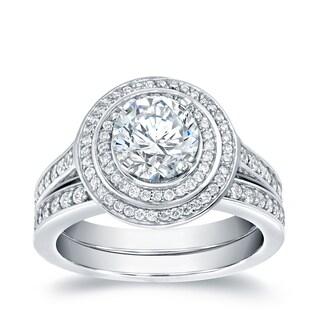 Auriya 14k White Gold 2ct TDW Certified Double Halo Bridal Ring Set