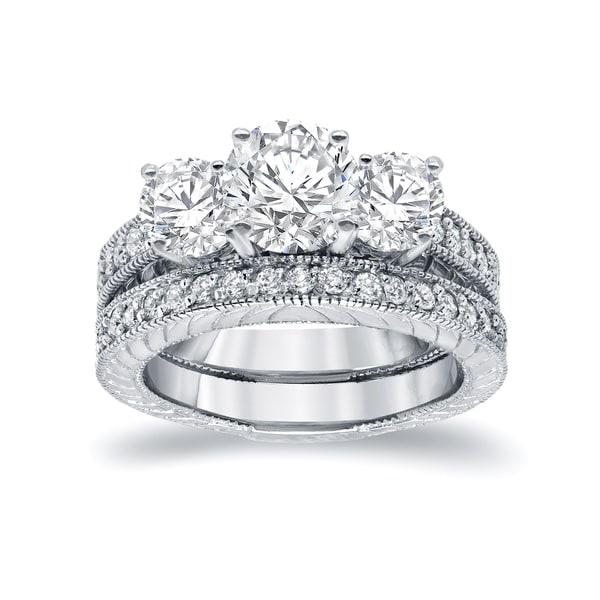c03b9491822 Shop Auriya Vintage 1 1 2ctw 3 Stone Diamond Engagement Ring Set 14K ...