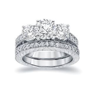Auriya 14k White Gold 1 2ct Certified 3 Stone Filigree Bridal Ring Set