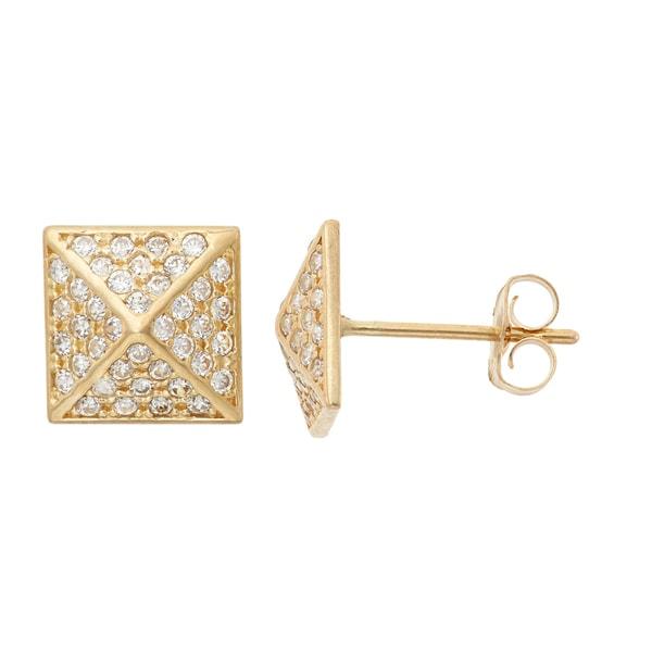 Gioelli 10k Gold Pave Cubic Zirconia Pyramid Stud Earrings