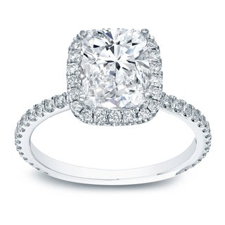 Auriya 18k White Gold 3ct TDW Certified Cushion Diamond Engagement Ring