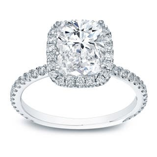 Auriya 18k White Gold 3ct TDW Certified Cushion Diamond Engagement Ring|https://ak1.ostkcdn.com/images/products/10123513/P17261681.jpg?impolicy=medium