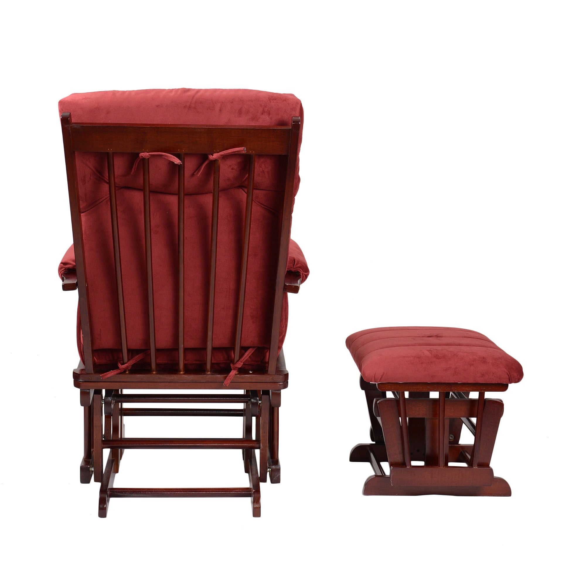 Fantastic Artiva Usa Home Deluxe Marsala Microfiber Cherry Finish Wood Glider And Ottoman Set Gmtry Best Dining Table And Chair Ideas Images Gmtryco