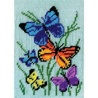 Butterflies Galore Needlepoint Kit5inX7in Stitched In Yarn