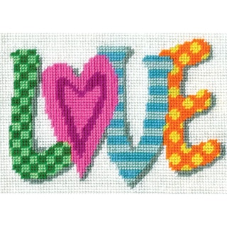 Love Needlepoint Kit7inX5in Stitched In Yarn