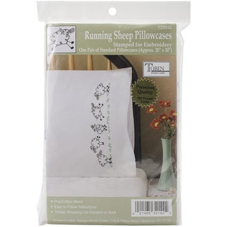 Stamped Pillowcase Pair For Embroidery 20inX30inRunning Sheep