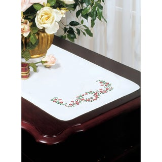 Stamped White Dresser Scarf For Embroidery 14inX39inHeart Vine
