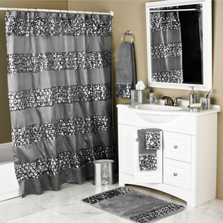 Black And Gold Shower Curtain Set Gold And Black Leafy Flourish