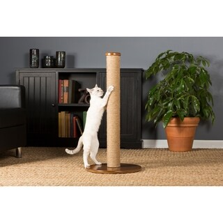 Prevue Pet Products 7100 Kitty Power Paws Tan/Brown Jute Tall Round Cat Scratching Post