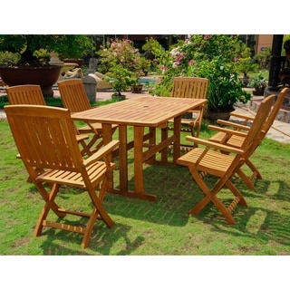 International Caravan Royal Fiji 'Sciacca' Stained Acacia Hardwood Outdoor 7-piece Dining Set