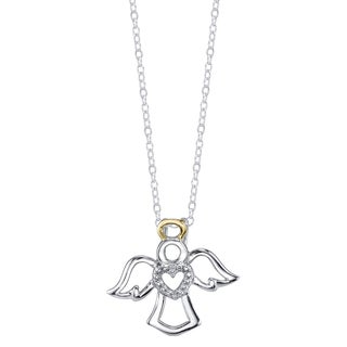 Two-tone Sterling Silver Diamond Accent Angel Necklace