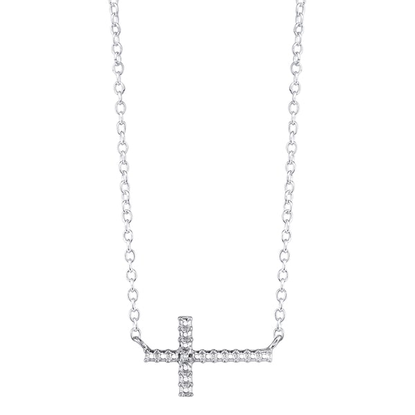 Sterling Silver Diamond Accent Sideways Cross Necklace