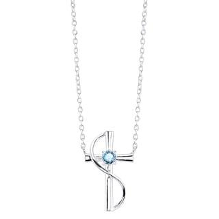 Sterling Silver Blue Topaz Cross Necklace