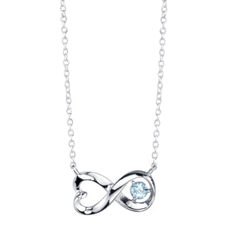 Sterling Silver Blue Topaz Infinity Heart Necklace