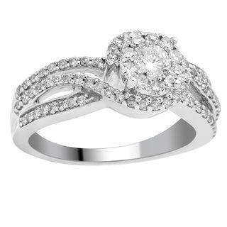 Divina 14k White Gold 3/4ct TDW Diamond Unity Fashion Ring
