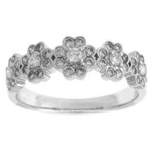 Azaro 18k White Gold 1/2ct TDW Diamond Floral Fashion Ring