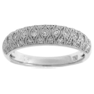 Azaro 18k White Gold 2/5ct TDW Diamond Filigree Wedding Band (G-H, SI1-SI2)