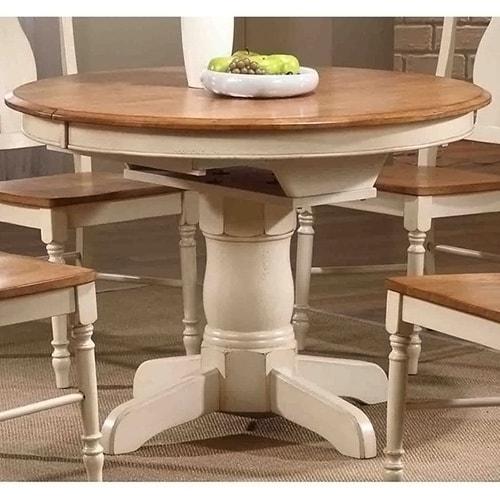Iconic Furniture Antiqued Caramel Biscotti Round Dining Table Multi