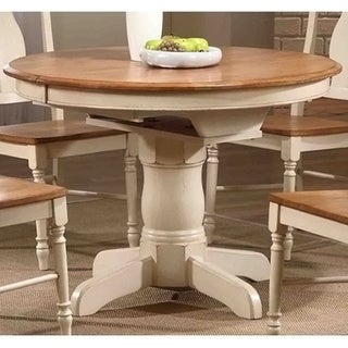 Iconic Furniture Antiqued Caramel/ Biscotti Round Dining Table - Multi