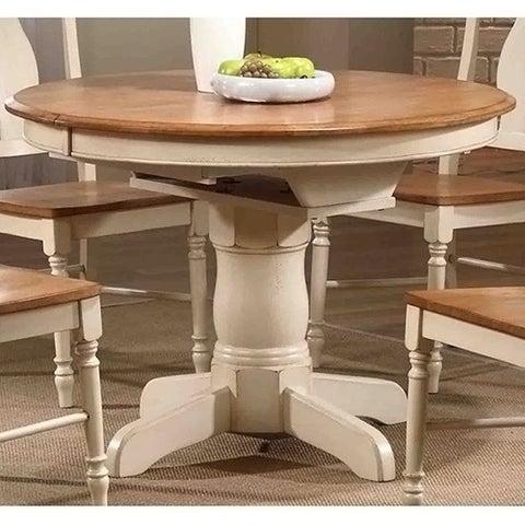 Iconic Furniture Antiqued Caramel/ Biscotti Round Dining Table - Multi