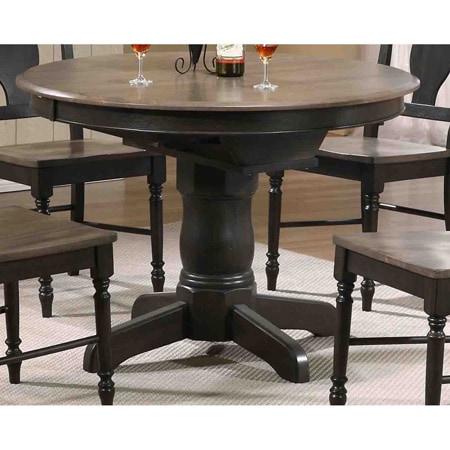 iconic furniture company antiqued grey stone  black stone 42 x 42 x 60 inch round dining table   free shipping today   overstock com   17262013 iconic furniture company antiqued grey stone  black stone 42 x 42      rh   overstock com