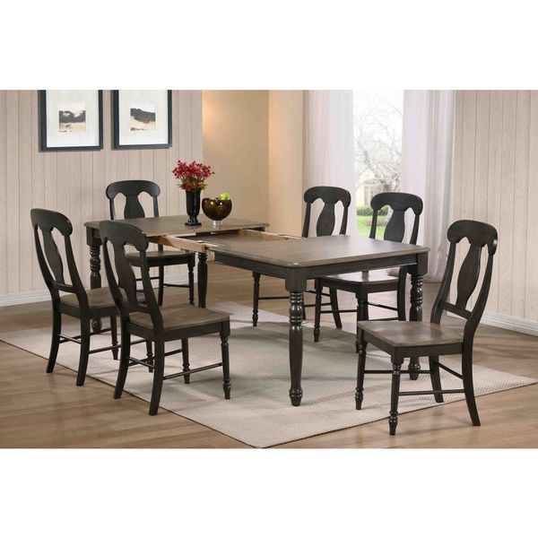 Iconic Furniture Antiqued Black Stone Grey Rectangle Dining Table Multi Free Shipping Today 10123916