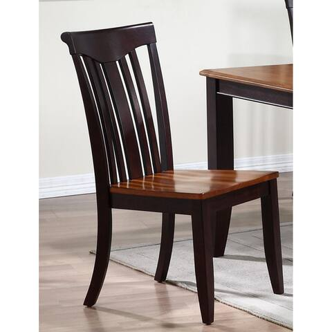 Iconic Furniture Whiskey/ Mocha Modern Slat Back Dining Chair (Set of 2)