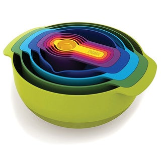 Joseph Joseph Nest 9 Plus, 9-Piece Compact Mixing Bowl, Food Prep, and Measuring Set
