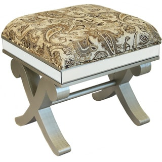 La Rochelle Collection Solid Wood Paisley Ottoman Bench Stool