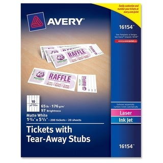 Avery Tickets With Tear-Away Stubs 16154 Matte White 1.75-inch x 5.5-inch (Pack of 200)